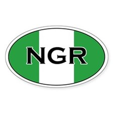 Nigerian Flag Oval Decal