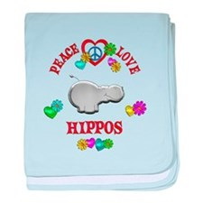 Peace Love Hippos baby blanket