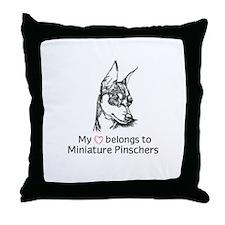 My Heart Belongs to Min Pins Throw Pillow