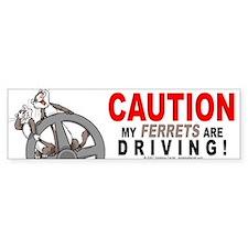 Caution My Ferrets Are Driving Bumper Car Sticker
