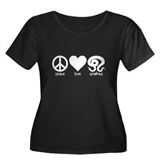 Peace Love & Snakes Womens Scoop Plus Size T-S