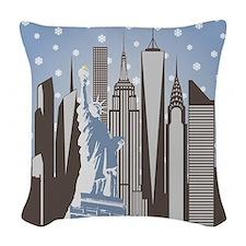 Nyc Snowflakes Woven Throw Pillow