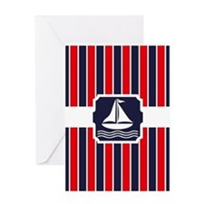 Nautical Sailboat Stripes Greeting Card