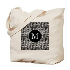 Greek Key Design Monogram Tote Bag