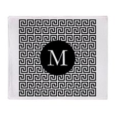 Greek Key Design Monogram Throw Blanket
