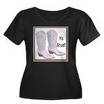 Yo Stud Women's Plus Size Scoop Neck Dark T-Shirt
