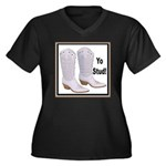 Yo Stud Women's Plus Size V-Neck Dark T-Shirt