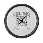 Waltz Dance Designs Large Wall Clock