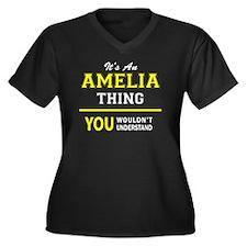 Funny Amelia Women's Plus Size V-Neck Dark T-Shirt