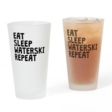 Eat Sleep Waterski Repeat Drinking Glass