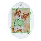 &quot;Cold Weather Dog&quot; Oval Ornament