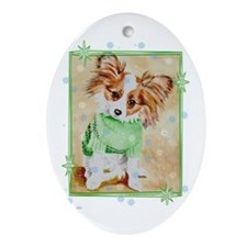 """Cold Weather Dog"" Oval Ornament"