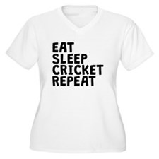 Eat Sleep Cricket Repeat Plus Size T-Shirt