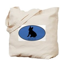 French Bulldog (oval-blue) Tote Bag