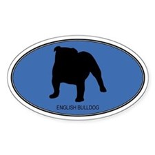 English Bulldog (oval-blue) Oval Decal