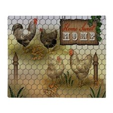 Home Sweet Home Chickens and Rooster Throw Blanket