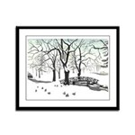 Winter Landscape Painting Framed Panel Art Print