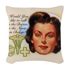 Nurses in Charge Vintage Desig Woven Throw Pillow