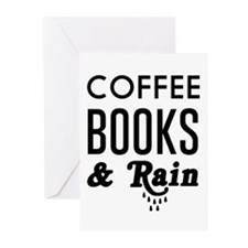 Coffee book and rain Greeting Cards
