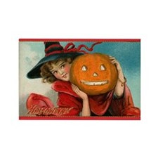 Jack-o-Lantern Girl Rectangle Magnet