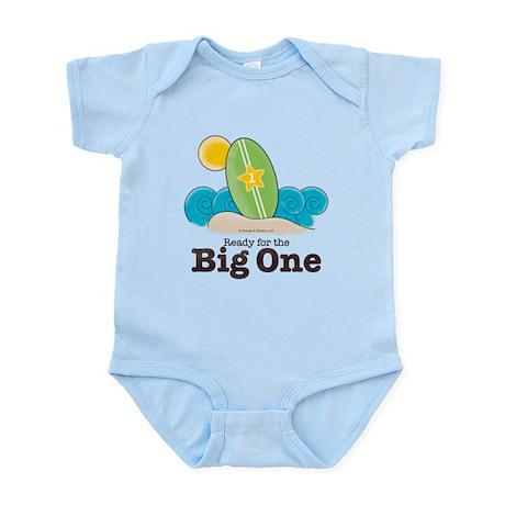 The Big One Surf Baby or 1st Birthday Blue Onesie