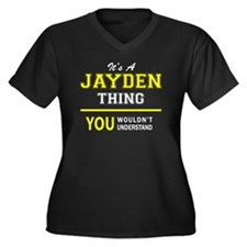 Unique Jayden Women's Plus Size V-Neck Dark T-Shirt