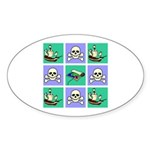 Treasure Map Blocks Oval Sticker