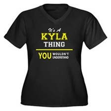 Unique Kyla Women's Plus Size V-Neck Dark T-Shirt