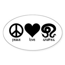Peace Love And Snakes Sticker (oval)