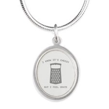 I Feel Grate Silver Oval Necklace