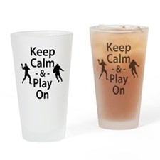 Keep Calm and Play On (Football) Drinking Glass