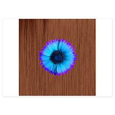 Blue Flower on Wood Invitations