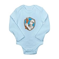 Plumber Holding Wrench Shield Retro Body Suit