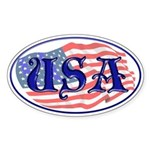 USA American Flag Oval Sticker