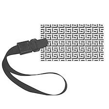White on Black Greek Key Pattern Luggage Tag