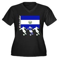 El Salvador Soccer Women's Plus Size V-Neck Dark T