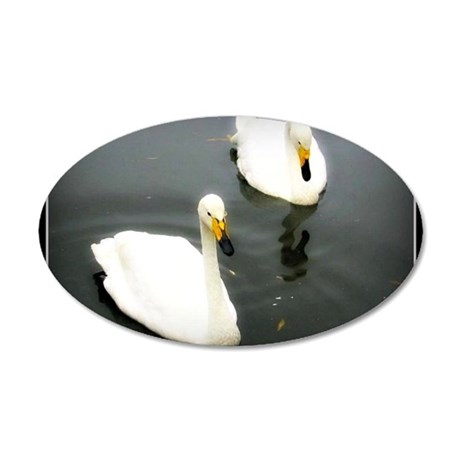 Black Water White Swans 35x21 Oval Wall Decal