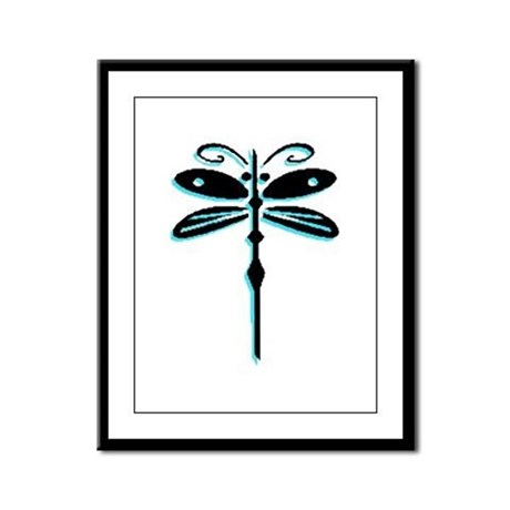 Teal Dragonfly Framed Panel Print