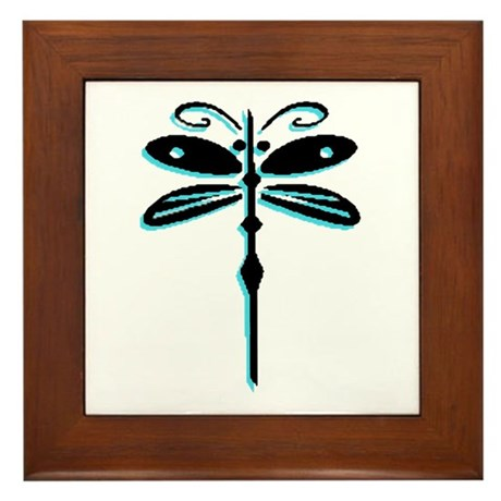 Teal Dragonfly Framed Tile