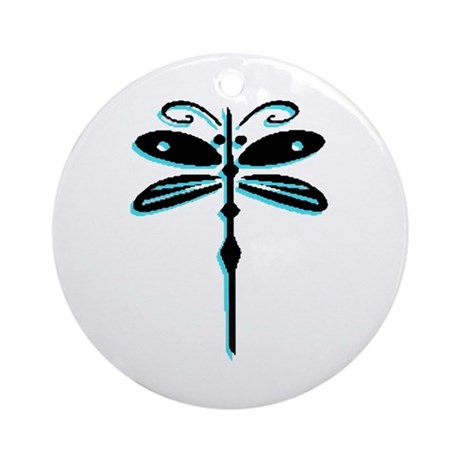 Teal Dragonfly Ornament (Round)