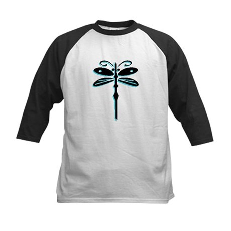 Teal Dragonfly Kids Baseball Jersey