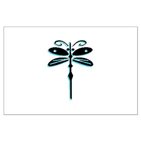 Teal Dragonfly Large Poster