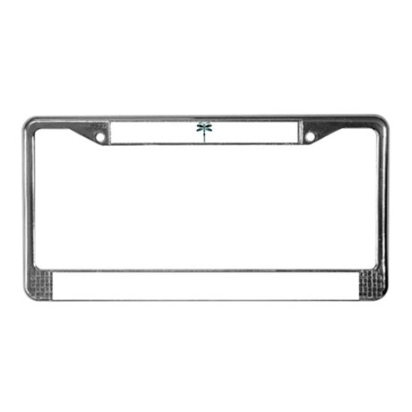 Teal Dragonfly License Plate Frame