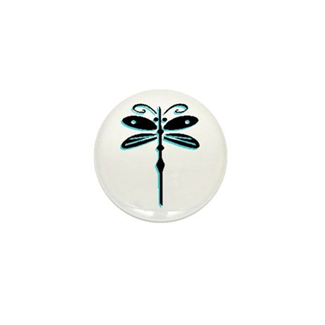 Teal Dragonfly Mini Button