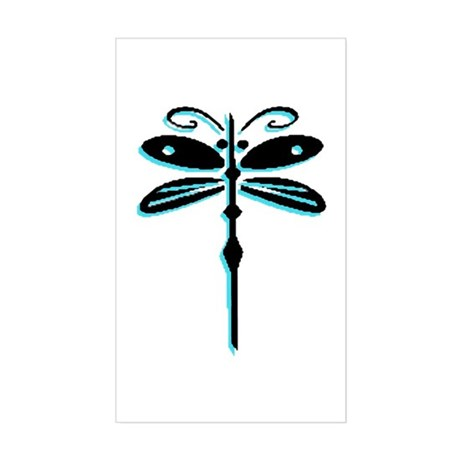 Teal Dragonfly Rectangle Sticker