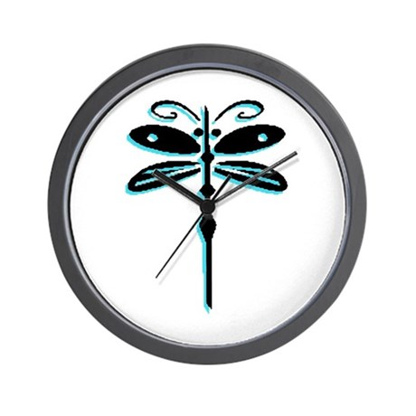 Teal Dragonfly Wall Clock