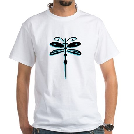Teal Dragonfly White T-Shirt
