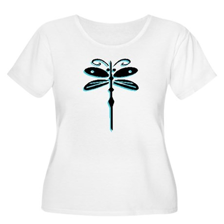 Teal Dragonfly Women's Plus Size Scoop Neck T-Shir