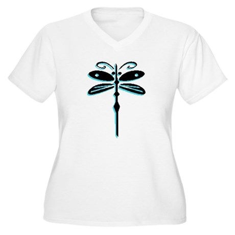 Teal Dragonfly Women's Plus Size V-Neck T-Shirt