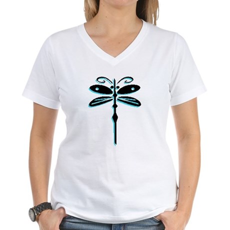 Teal Dragonfly Women's V-Neck T-Shirt